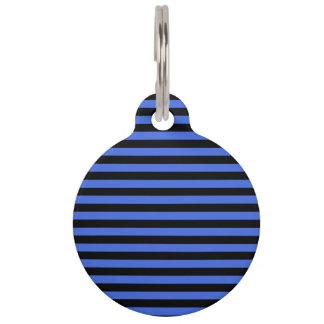 Thin Stripes - Black and Royal Blue Pet Tag