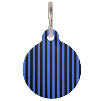 Thin Stripes - Black and Royal Blue Pet Tag