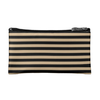 Thin Stripes - Black and Tan Cosmetics Bags