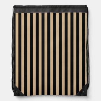 Thin Stripes - Black and Tan Drawstring Bag