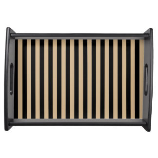 Thin Stripes - Black and Tan Serving Tray