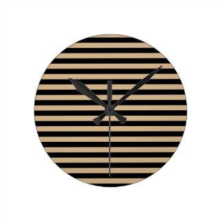 Thin Stripes - Black and Tan Wall Clock