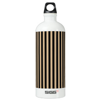 Thin Stripes - Black and Tan Water Bottle