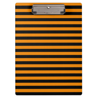 Thin Stripes - Black and Tangerine Clipboard