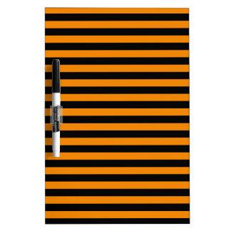Thin Stripes - Black and Tangerine Dry Erase Board