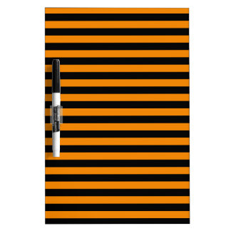 Thin Stripes - Black and Tangerine Dry Erase Whiteboard