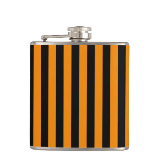 Thin Stripes - Black and Tangerine Hip Flask