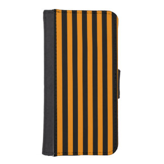 Thin Stripes - Black and Tangerine iPhone SE/5/5s Wallet Case
