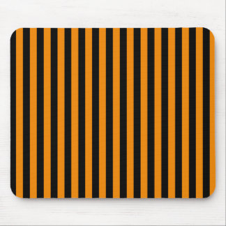 Thin Stripes - Black and Tangerine Mouse Pad