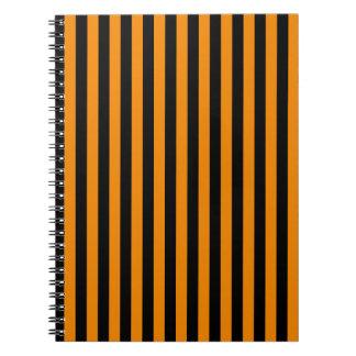 Thin Stripes - Black and Tangerine Notebooks