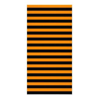 Thin Stripes - Black and Tangerine Photo Card