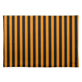 Thin Stripes - Black and Tangerine Placemat