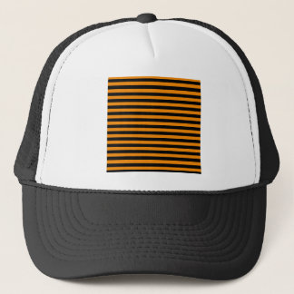 Thin Stripes - Black and Tangerine Trucker Hat