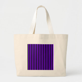 Thin Stripes - Black and Violet Large Tote Bag