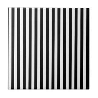 Thin Stripes - Black and White Tile