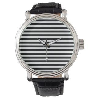 Thin Stripes - Black and White Wrist Watches