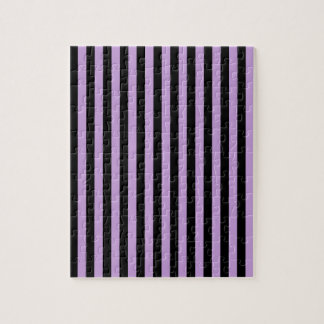 Thin Stripes - Black and Wisteria Jigsaw Puzzle
