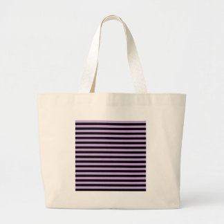 Thin Stripes - Black and Wisteria Large Tote Bag
