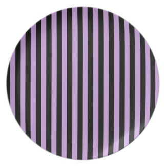 Thin Stripes - Black and Wisteria Party Plate