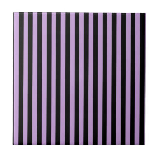 Thin Stripes - Black and Wisteria Tile