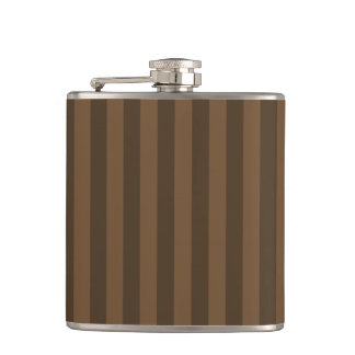 Thin Stripes - Brown and Dark Brown Hip Flask