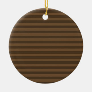 Thin Stripes - Brown and Dark Brown Round Ceramic Ornament