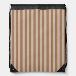 Thin Stripes - Brown and Light Brown Drawstring Bag
