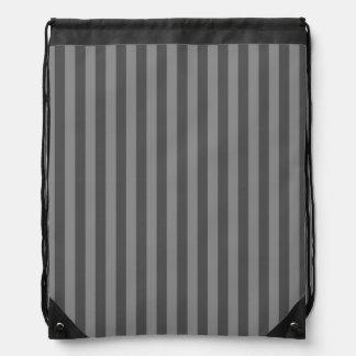 Thin Stripes - Gray and Dark Gray Drawstring Bag