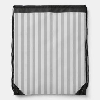 Thin Stripes - Gray and Light Gray Drawstring Bag