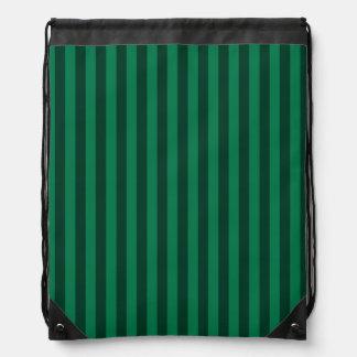 Thin Stripes - Green and Dark Green Drawstring Bag