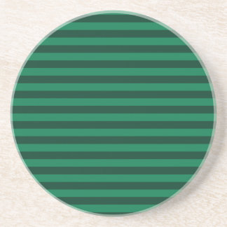 Thin Stripes - Green and Dark Green Drink Coaster