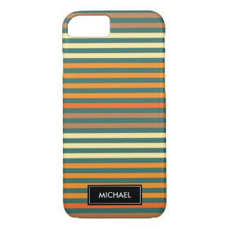 Thin Stripes Green & Orange | Custom Name iPhone 8/7 Case