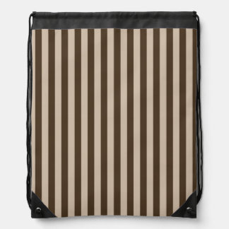 Thin Stripes - Light Brown and Dark Brown Drawstring Bag