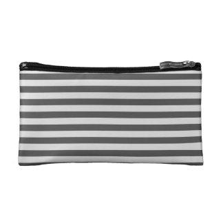 Thin Stripes - Light Gray and Dark Gray Cosmetics Bags