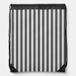 Thin Stripes - Light Gray and Dark Gray Drawstring Bag