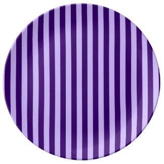 Thin Stripes - Light Violet and Dark Violet Porcelain Plate