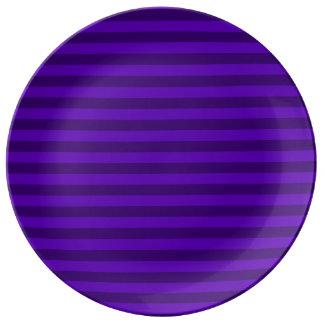 Thin Stripes - Violet and Dark Violet Porcelain Plates