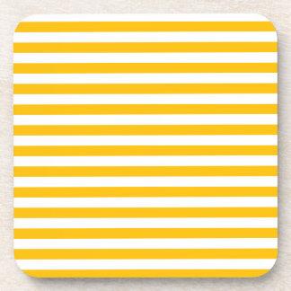 Thin Stripes - White and Amber Coaster