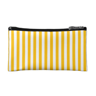 Thin Stripes - White and Amber Makeup Bags