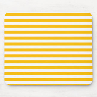 Thin Stripes - White and Amber Mouse Pad