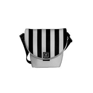 Thin Stripes - White and Black Messenger Bag