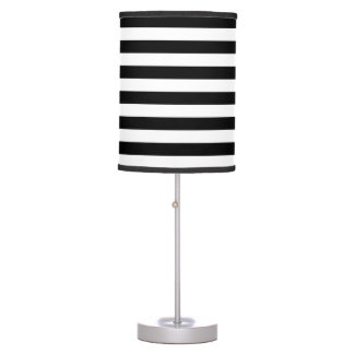Thin Stripes - White and Black Table Lamp