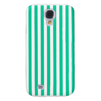 Thin Stripes - White and Caribbean Green