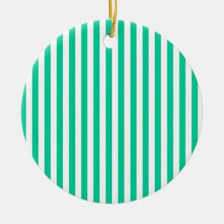 Thin Stripes - White and Caribbean Green Ceramic Ornament