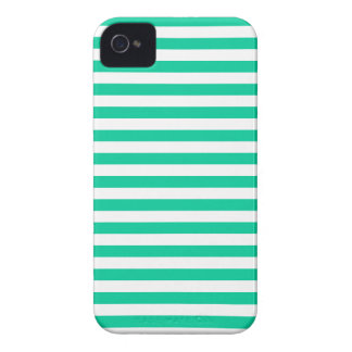 Thin Stripes - White and Caribbean Green iPhone 4 Cases