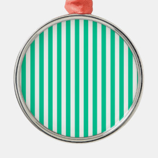 Thin Stripes - White and Caribbean Green Metal Ornament