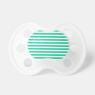 Thin Stripes - White and Caribbean Green Pacifier