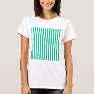 Thin Stripes - White and Caribbean Green T-Shirt