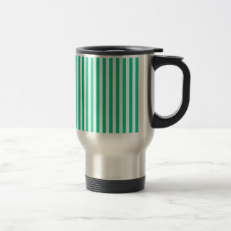 Thin Stripes - White and Caribbean Green Travel Mug