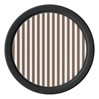 Thin Stripes - White and Coffee Poker Chips
